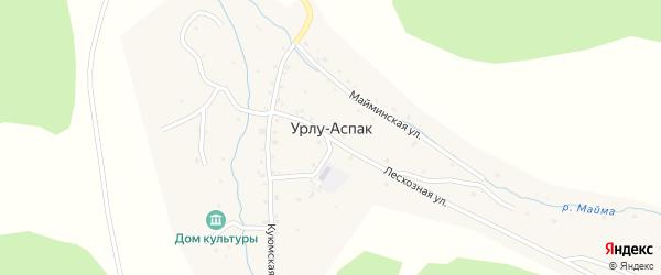 Заречная улица на карте села Урлу-Аспак с номерами домов