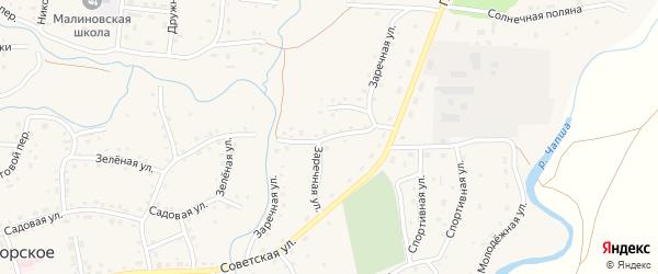 Заречная улица на карте Красногорского села с номерами домов