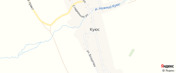 Стадионная улица на карте села Куюс с номерами домов