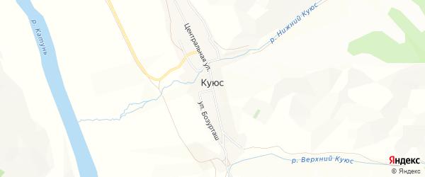 Карта села Куюс в Алтае с улицами и номерами домов
