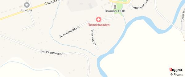 Пляжная улица на карте села Карабинка с номерами домов