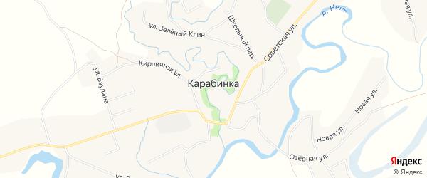 Карта села Карабинка в Алтайском крае с улицами и номерами домов