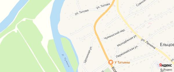 Луговой переулок на карте села Ельцовки с номерами домов