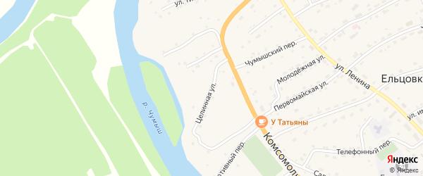 Целинная улица на карте села Ельцовки с номерами домов