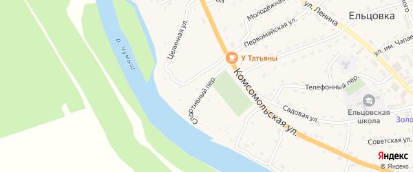 Спортивный переулок на карте села Ельцовки с номерами домов