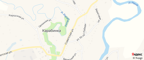 Советская улица на карте села Карабинка с номерами домов