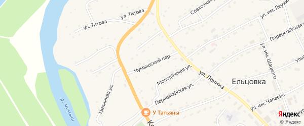 Чумышский переулок на карте села Ельцовки с номерами домов