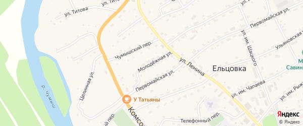 Молодежная улица на карте села Ельцовки с номерами домов