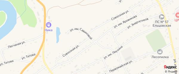 Совхозная улица на карте села Ельцовки с номерами домов