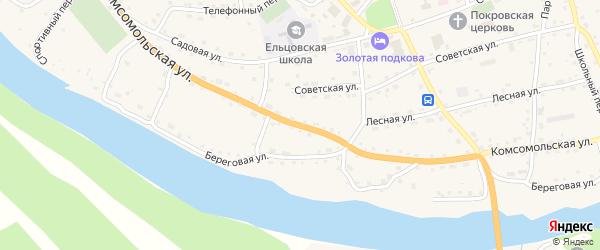 Комсомольская улица на карте села Ельцовки с номерами домов