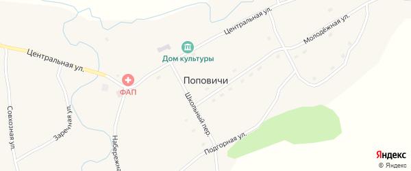 Школьный переулок на карте села Поповичи с номерами домов