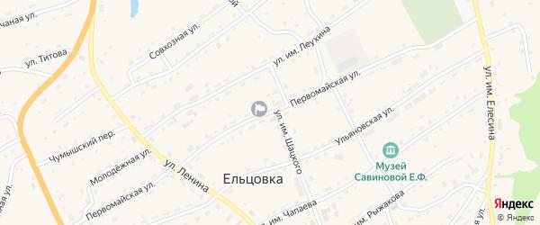 Первомайская улица на карте села Ельцовки с номерами домов