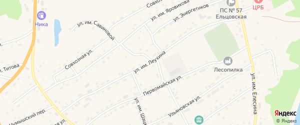 Улица им Леухина на карте села Ельцовки с номерами домов