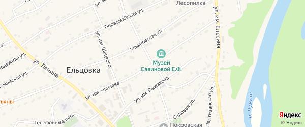 Улица Им Чапаева на карте села Ельцовки с номерами домов