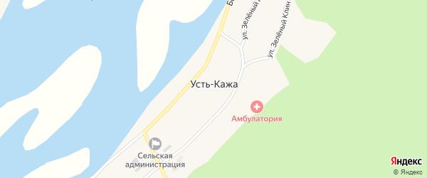 Центральная улица на карте села Усть-Кажи с номерами домов