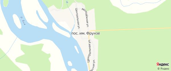 Карта поселка Им Фрунзе в Алтайском крае с улицами и номерами домов