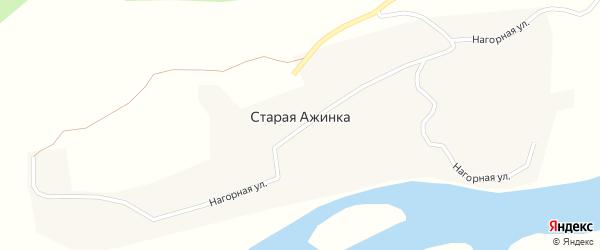 Нагорная улица на карте села Старой Ажинки с номерами домов