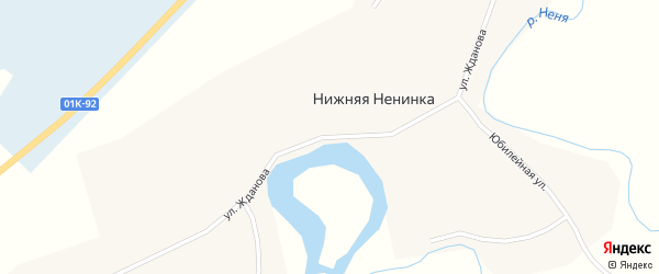 Улица Жданова на карте села Нижней Ненинки с номерами домов