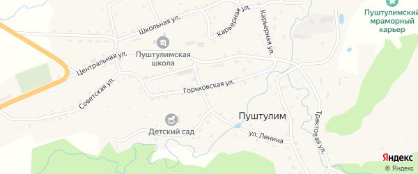 Горьковская улица на карте села Пуштулима с номерами домов