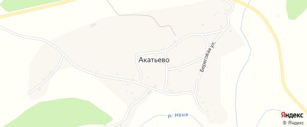 Береговая улица на карте села Акатьево с номерами домов