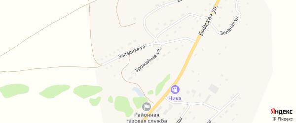 Урожайная улица на карте села Солтона с номерами домов