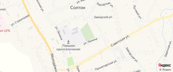 Льнозаводская улица на карте села Солтона с номерами домов