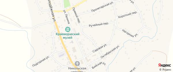 Прямой переулок на карте села Солтона с номерами домов