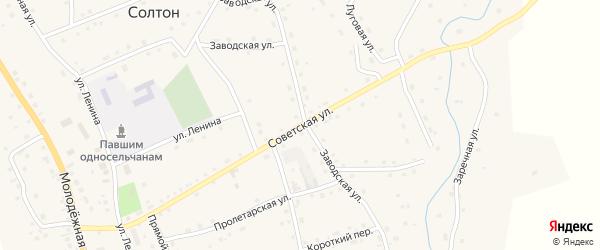 Советская улица на карте села Солтона с номерами домов
