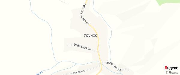 Карта села Урунска в Алтайском крае с улицами и номерами домов