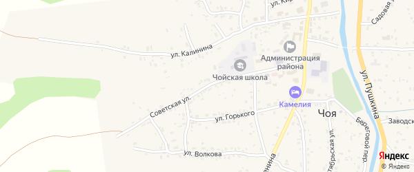 Советская улица на карте села Чоя с номерами домов