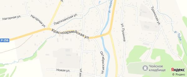 Октябрьская улица на карте села Чоя с номерами домов