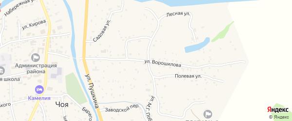 Улица Ворошилова на карте села Чоя с номерами домов