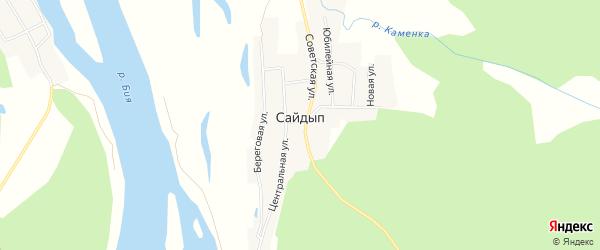 Карта села Сайдыпа в Алтайском крае с улицами и номерами домов