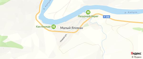 Карта села Малого Яломана в Алтае с улицами и номерами домов