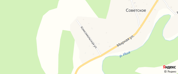 Комсомольская улица на карте Советского села с номерами домов