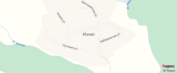 Центральная улица на карте села Излапа с номерами домов