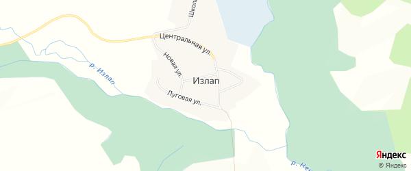 Карта села Излапа в Алтайском крае с улицами и номерами домов