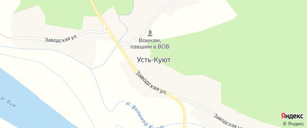 Заводская улица на карте поселка Усть-Куюта с номерами домов