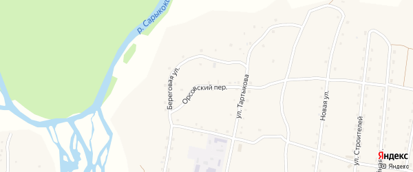 Орсовский переулок на карте села Каракокши с номерами домов