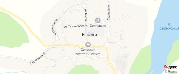 Восточный переулок на карте села Ынырги с номерами домов