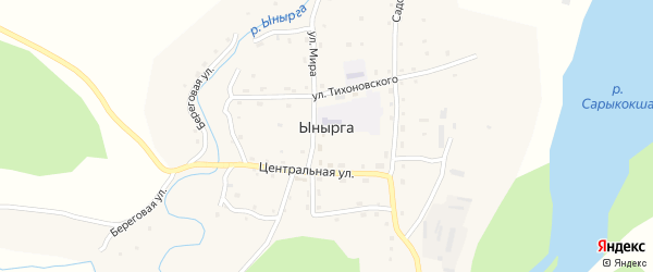 Солнечный переулок на карте села Ынырги с номерами домов
