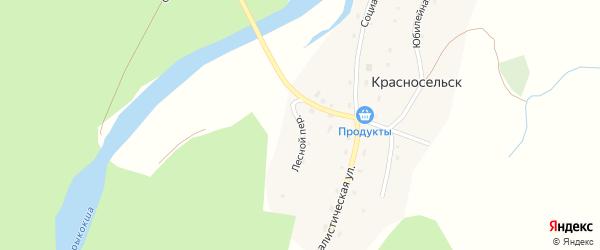 Лесной переулок на карте села Красносельска с номерами домов