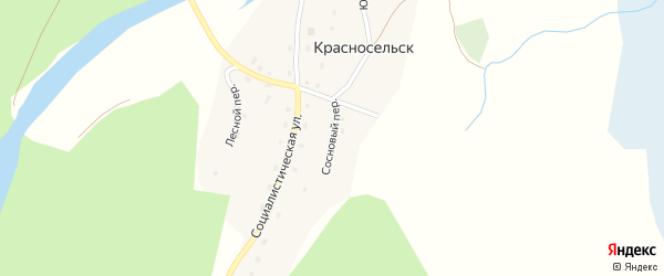 Сосновый переулок на карте села Красносельска с номерами домов