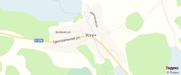Карта села Ускуча в Алтае с улицами и номерами домов