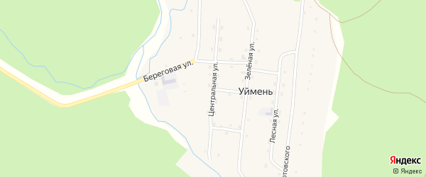Центральная улица на карте села Уймень с номерами домов