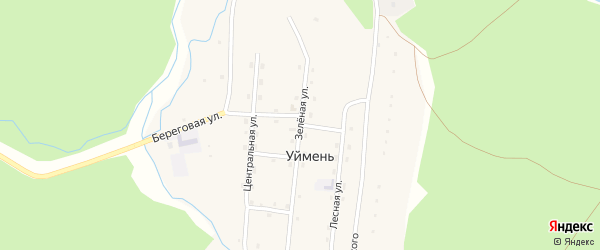 Зеленая улица на карте села Уймень с номерами домов