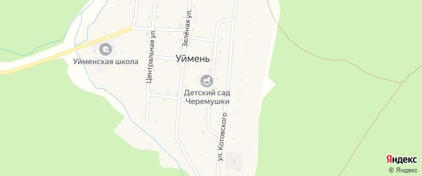Лесная улица на карте села Уймень с номерами домов