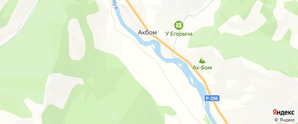 Карта села Акбом в Алтае с улицами и номерами домов
