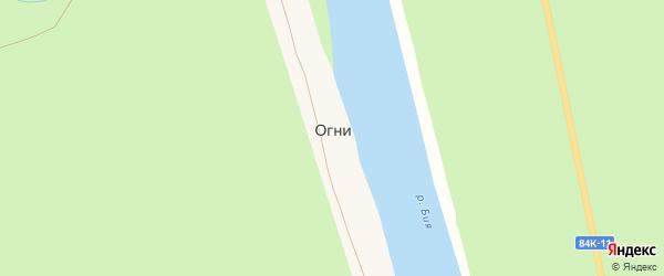 Береговая улица на карте села Огни с номерами домов