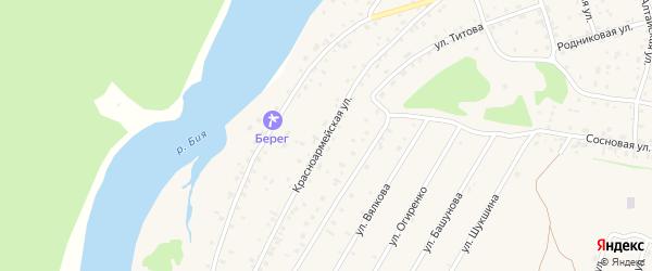 Красноармейская улица на карте села Турочак с номерами домов